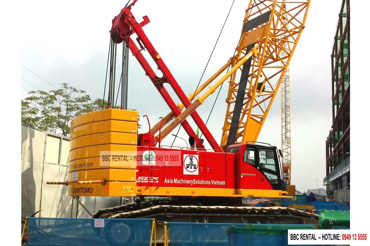 Cho thuê cẩu xích 150 tấn Hitachi Sumitomo SCX1500A-3 tại Nhà máy V3, Samsung Bắc Ninh