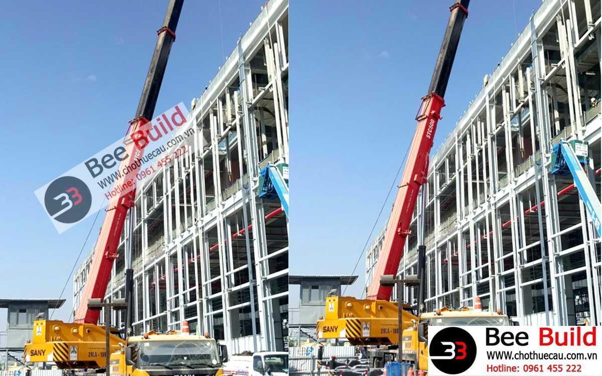 Cho thuê cẩu lốp 50 tấn tại Nhà máy V3 Samsung Bắc Ninh